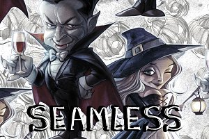 12 Seamless Halloween Backs