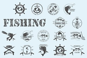 Set of vintage fishing labels