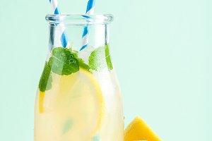 Bottle of homemade lemonade