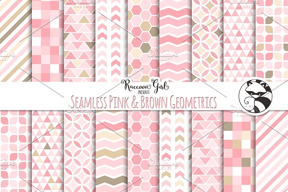 Seamless Pink & Brown Geometrics