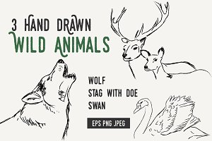 Hand drawn WOLF SWAN STAG DOE