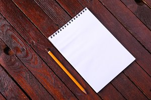 Notepad on wood