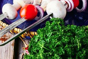 Vegetables on skewers