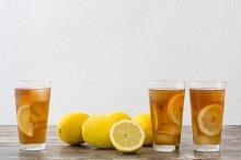 Ice tea with lemon. Summer drink