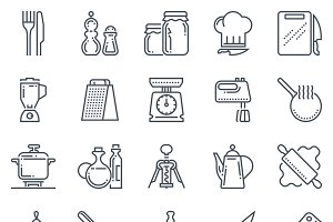Kitchen, kitchenware icon set