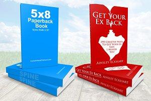 5 x 8 Paperback Book Stack Mockup