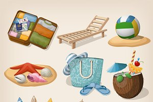 Beach vacation icon set.
