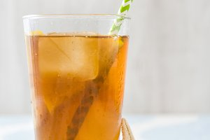 Ice tea with lemon and starfish