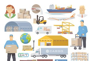 Logistics icons flat set