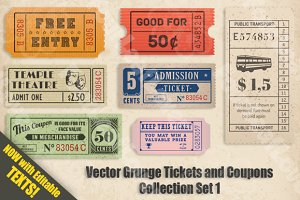 Vector Grunge Tickets and Coupons 2