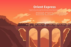 Travel by train. Web banners