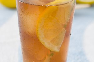 Ice tea with lemon. Summer drink