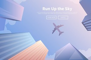 Travel by airplane. Web banners.