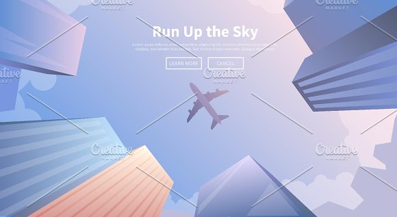 Travel by airplane. Web banners. - Illustrations