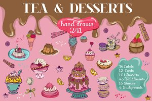 241 Desserts Hand drawn Elements