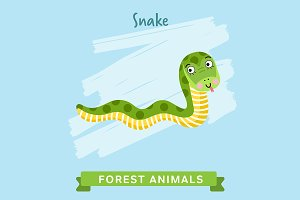 Snake Vector, forest animals.