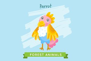 Parrot Vector, forest animals.