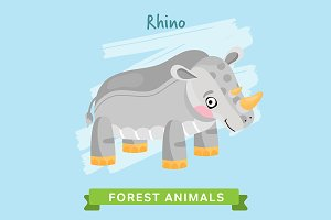 Rhino Vector, forest animals.