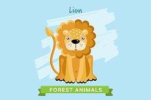 Lion Vector, forest animals.