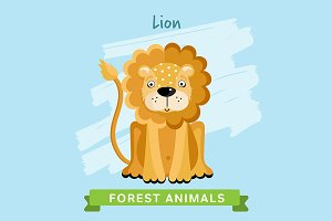Lion Vector, forest animals.