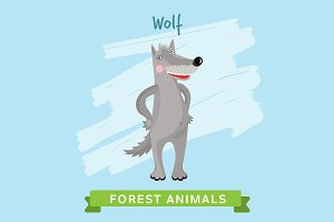 Wolf Vector, forest animals.