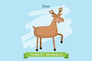 Deer Vector, forest animals.