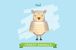 Owl Vector, forest animals.