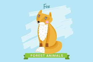 Fox Vector, forest animals.