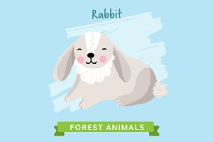 Rabbit Vector, forest animals.