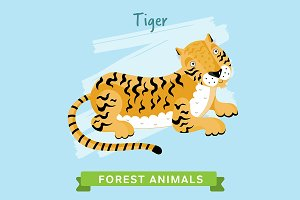 Tiger Vector, forest animals.