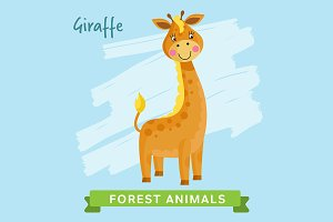 Giraffe Vector, forest animals.