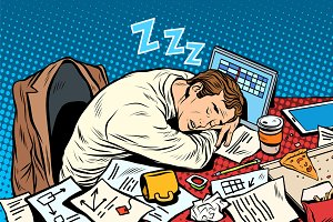 Man businessman sleeping on the job