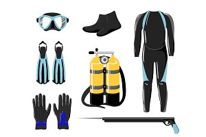 Diving collection. Sport underwater