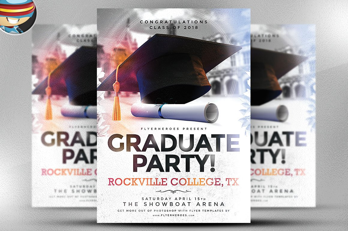 graduate party flyer template flyer templates creative market. Black Bedroom Furniture Sets. Home Design Ideas