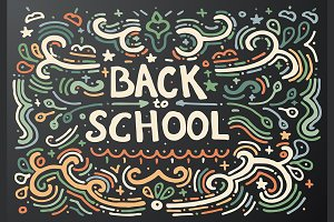 Back to school chalkboard sketch.