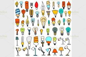 Set of Cute Vintage Bulb Doodle