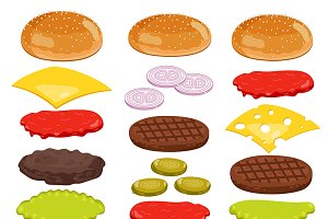 Burger ingredients isoalted on white