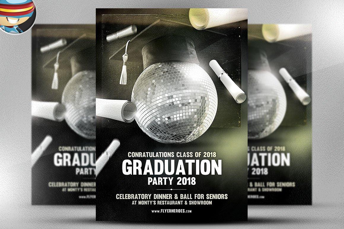 Graduation flyer template flyer templates creative market for Graduation brochure templates