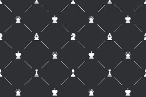 Endpaper pattern with chess icons
