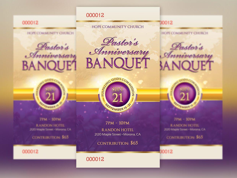 Clergy Anniversary Banquet Ticket ~ Templates ~ Creative Market