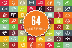 64 outline signs and symbols