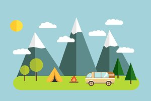 Tourist camp mountains. Vector.