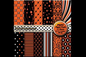 Black Orange Scrapbook Digital Paper