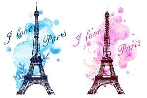 Romantic backgrounds with Paris