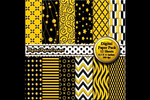 Black Yellow Embossed Digital Paper