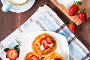 Morning breakfast with cottage cheese pancakes