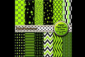 Black Green Embossed Digital Paper