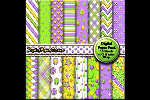 Green Purple Embossed Digtial Paper