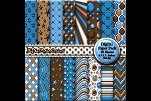 Blue Brown  Embossed Digtial Paper