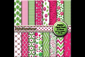 Green Pink Scrapbook Digtial Paper